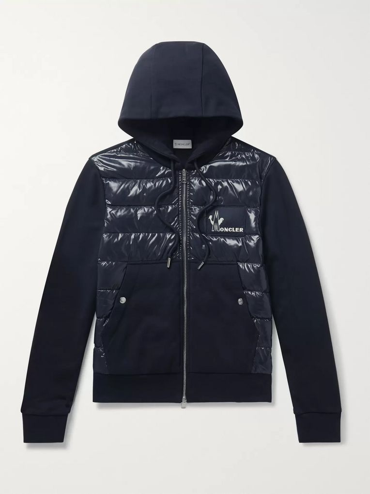 Moncler Panelled Cotton-Jersey and Quilted Shell Down Zip-Up Hoodie