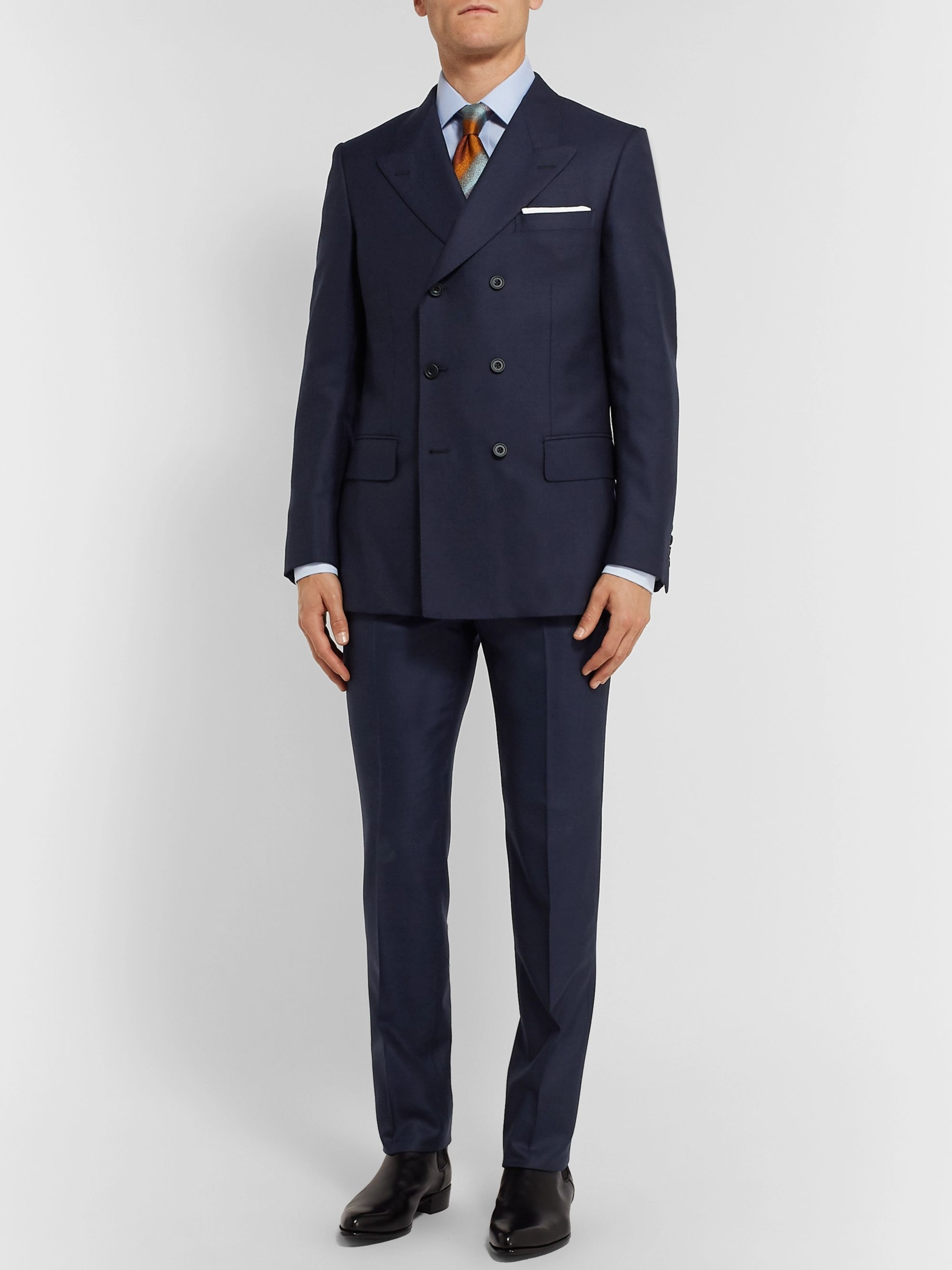 Kingsman Rocketman Navy Double-Breasted Wool-Twill Suit Jacket