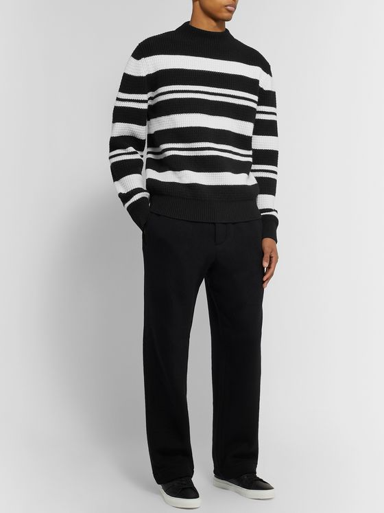 Mr P. Striped Waffle-Knit Virgin Wool Sweater