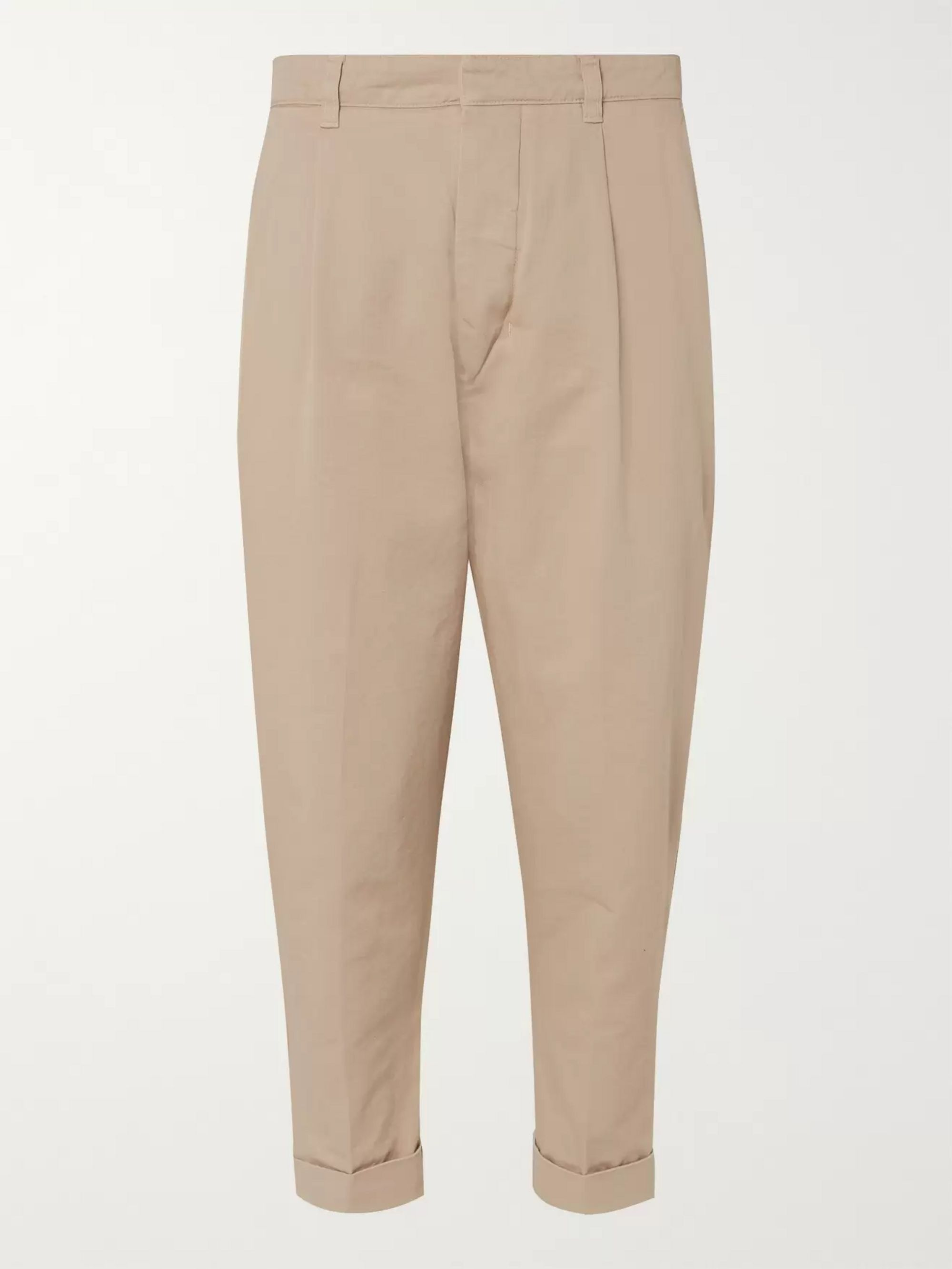 free delivery customers first official sale Tapered Pleated Cotton-Twill Chinos