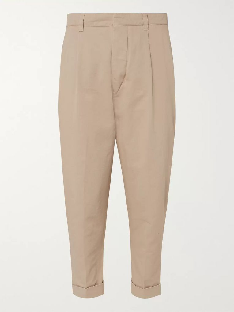AMI Tapered Pleated Cotton-Twill Chinos