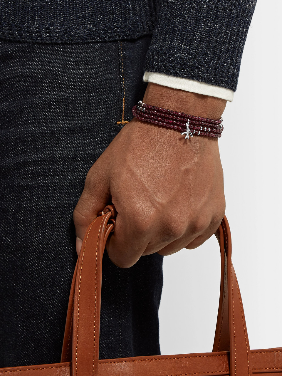 Isaia Silver and Garnet Beaded Wrap Bracelet