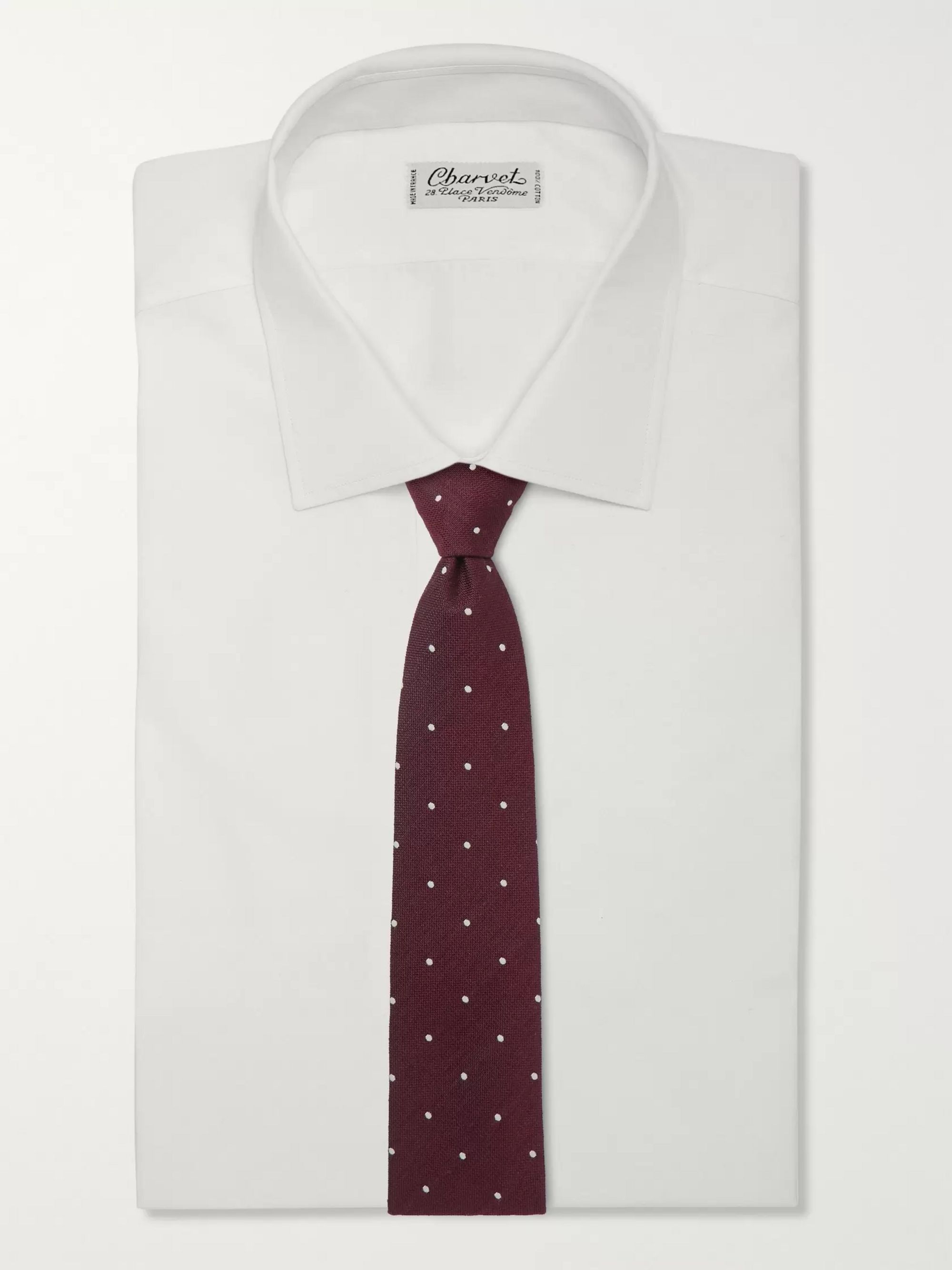 Drake's 8cm Polka-Dot Silk and Wool-Blend Tie