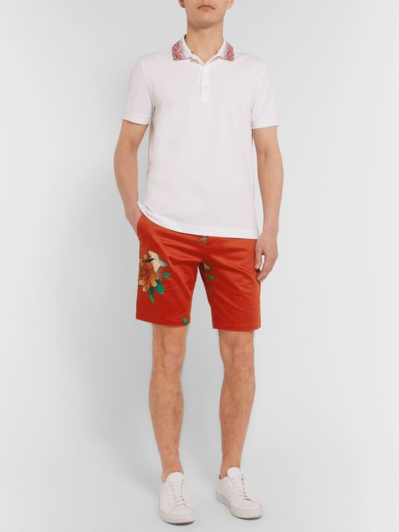 Paul Smith Printed Cotton-Blend Satin Shorts