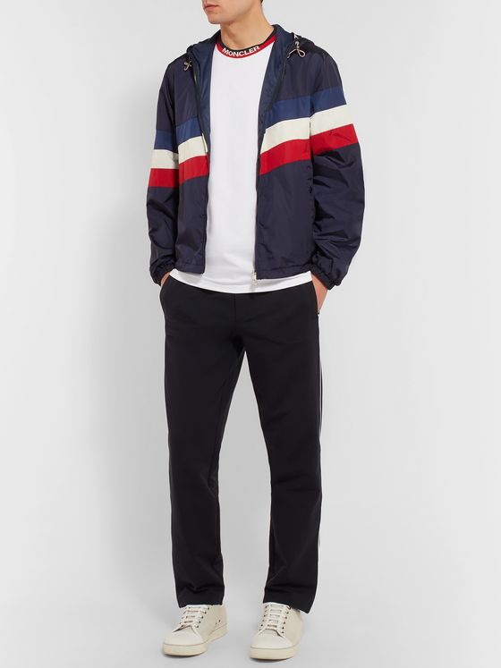 Moncler Logo Webbing-Trimmed Stretch-Cotton Jersey T-Shirt