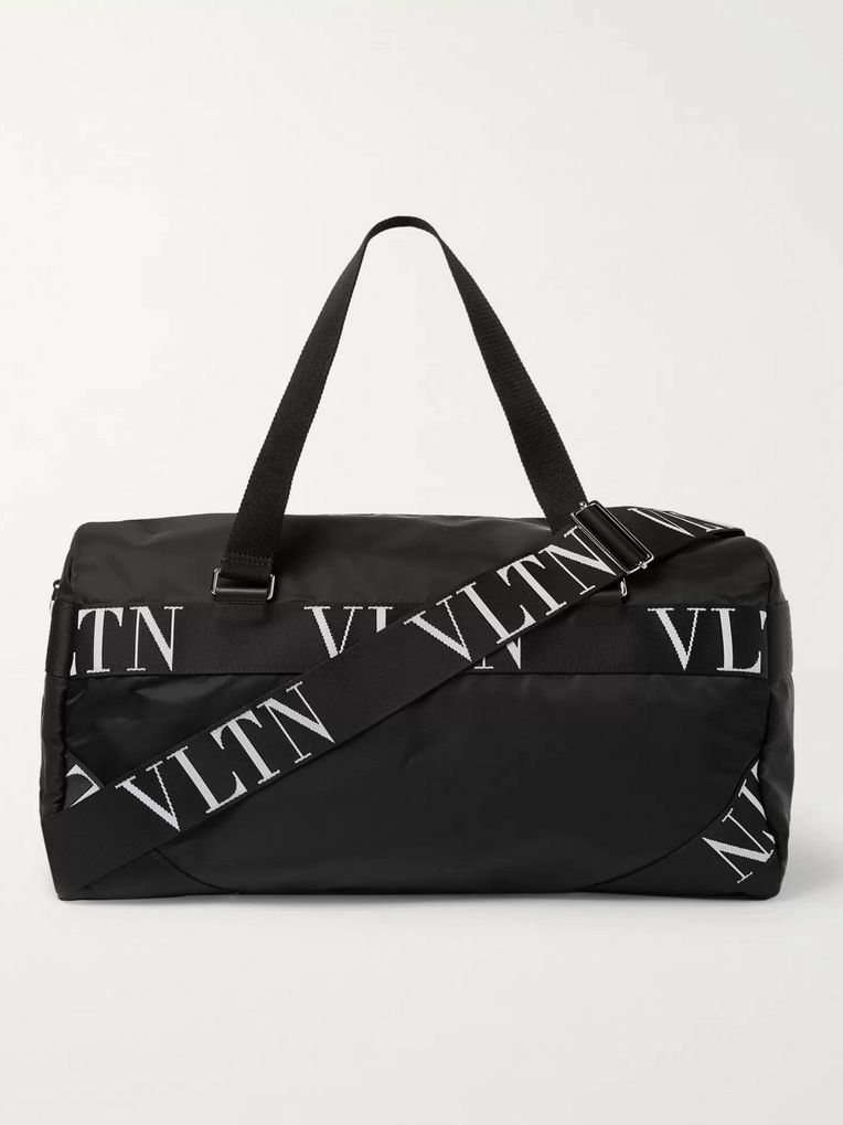 Valentino Logo-Webbing and Leather-Trimmed Nylon Holdhall