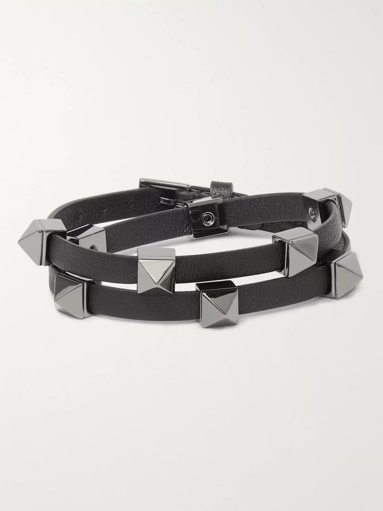 Valentino Valentino Garavani Rockstud Leather and Ruthenium Wrap Bracelet