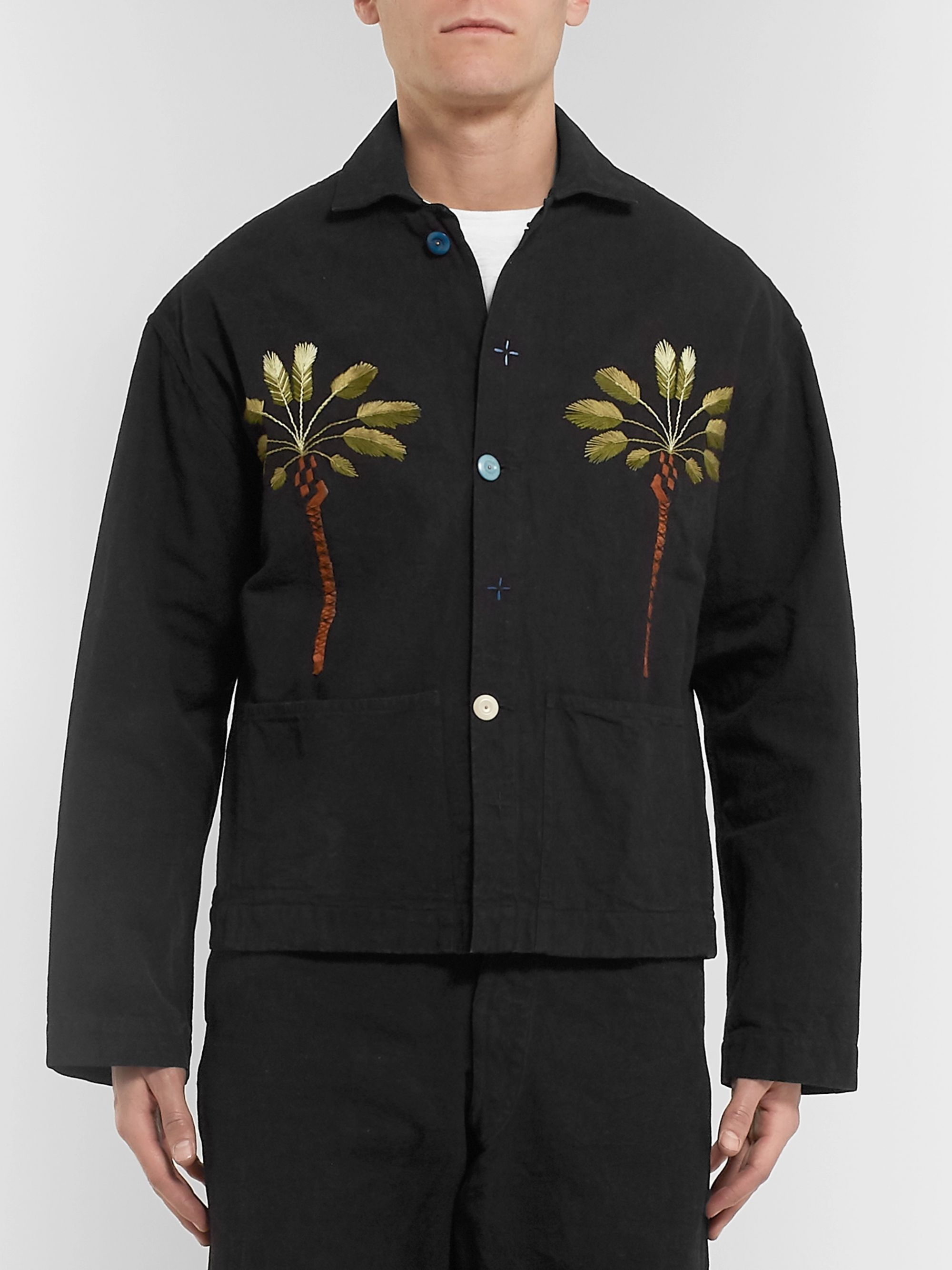 Story Mfg. Short On Time Embroidered Organic Cotton-Canvas Chore Jacket