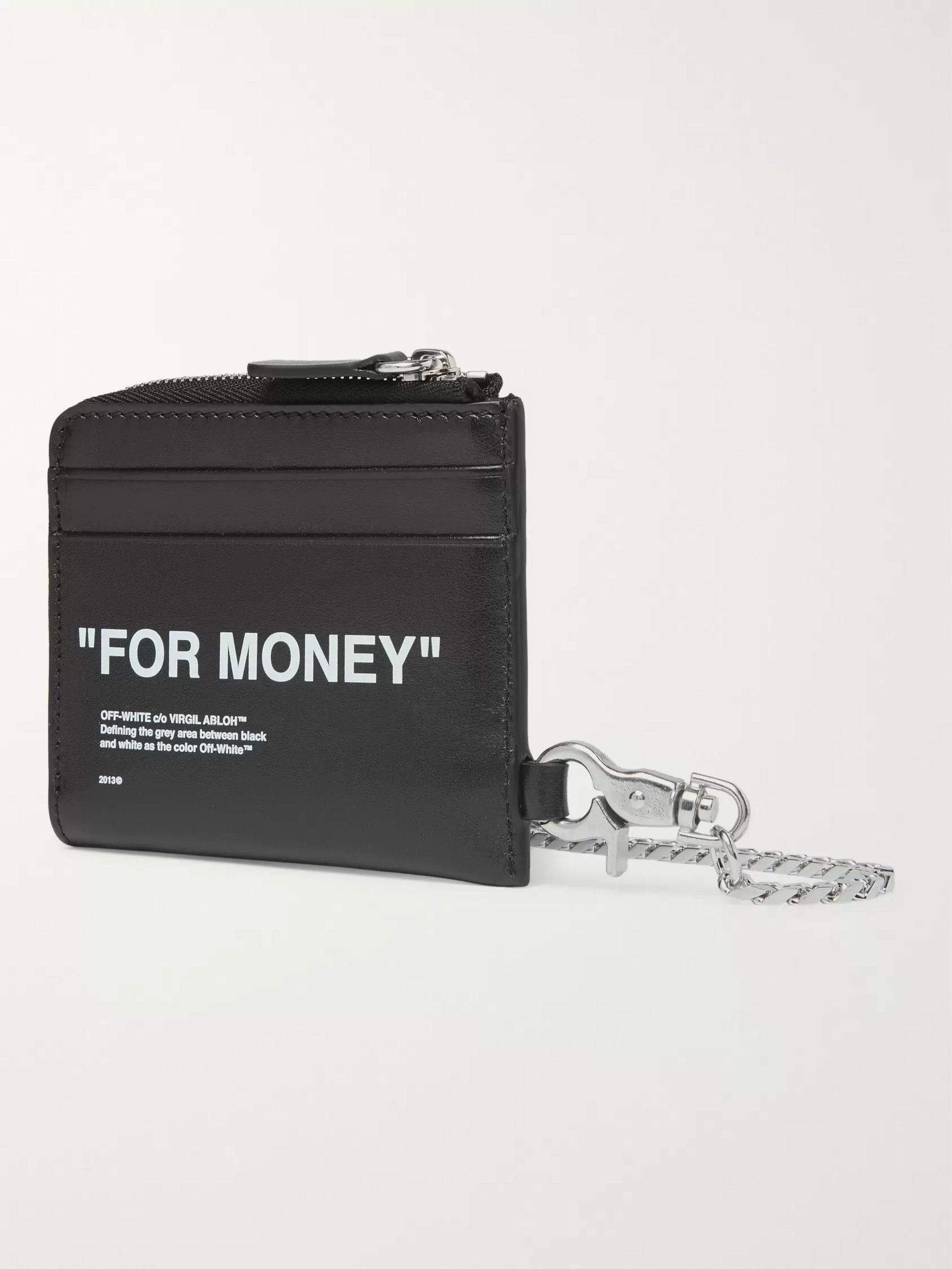 Off-White Embossed Printed Leather Zip-Around Chain Wallet