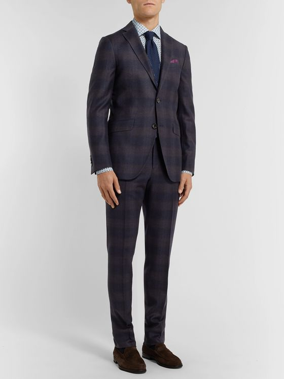 Etro Navy Slim-Fit Checked Wool Suit Trousers