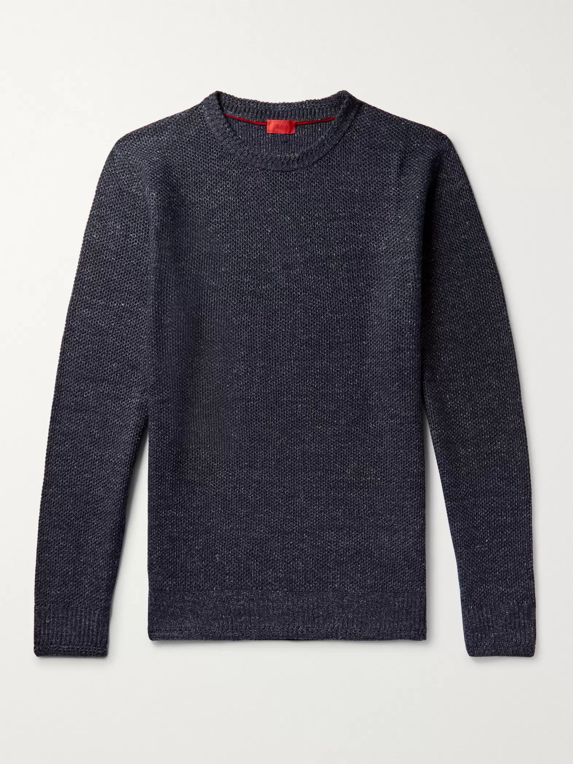 Isaia Honeycomb-Knit Mélange Linen And Wool-Blend Sweater