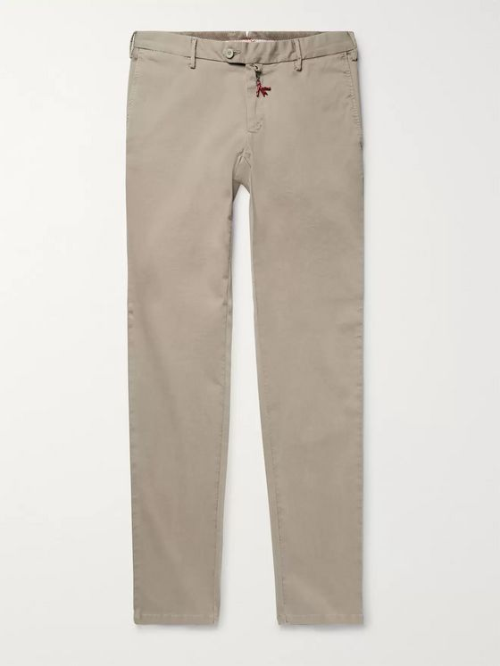 Isaia Slim-Fit Stretch-Cotton Twill Chinos