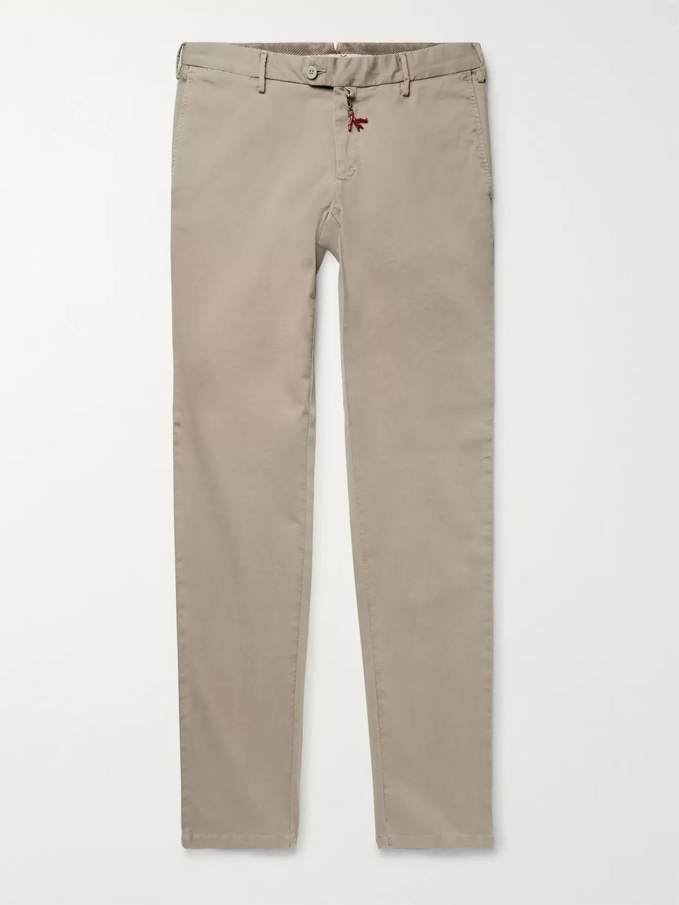 Isaia Midnight-Blue Slim-Fit Stretch-Cotton Twill Chinos