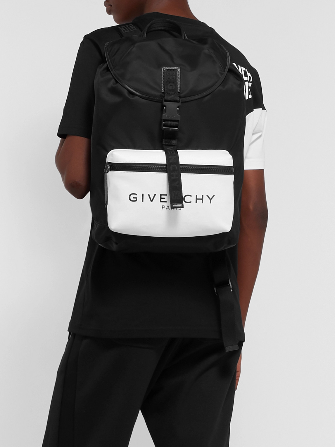 Givenchy Backpacks GLOW-IN-THE-DARK LOGO-PRINT CANVAS AND SHELL BACKPACK