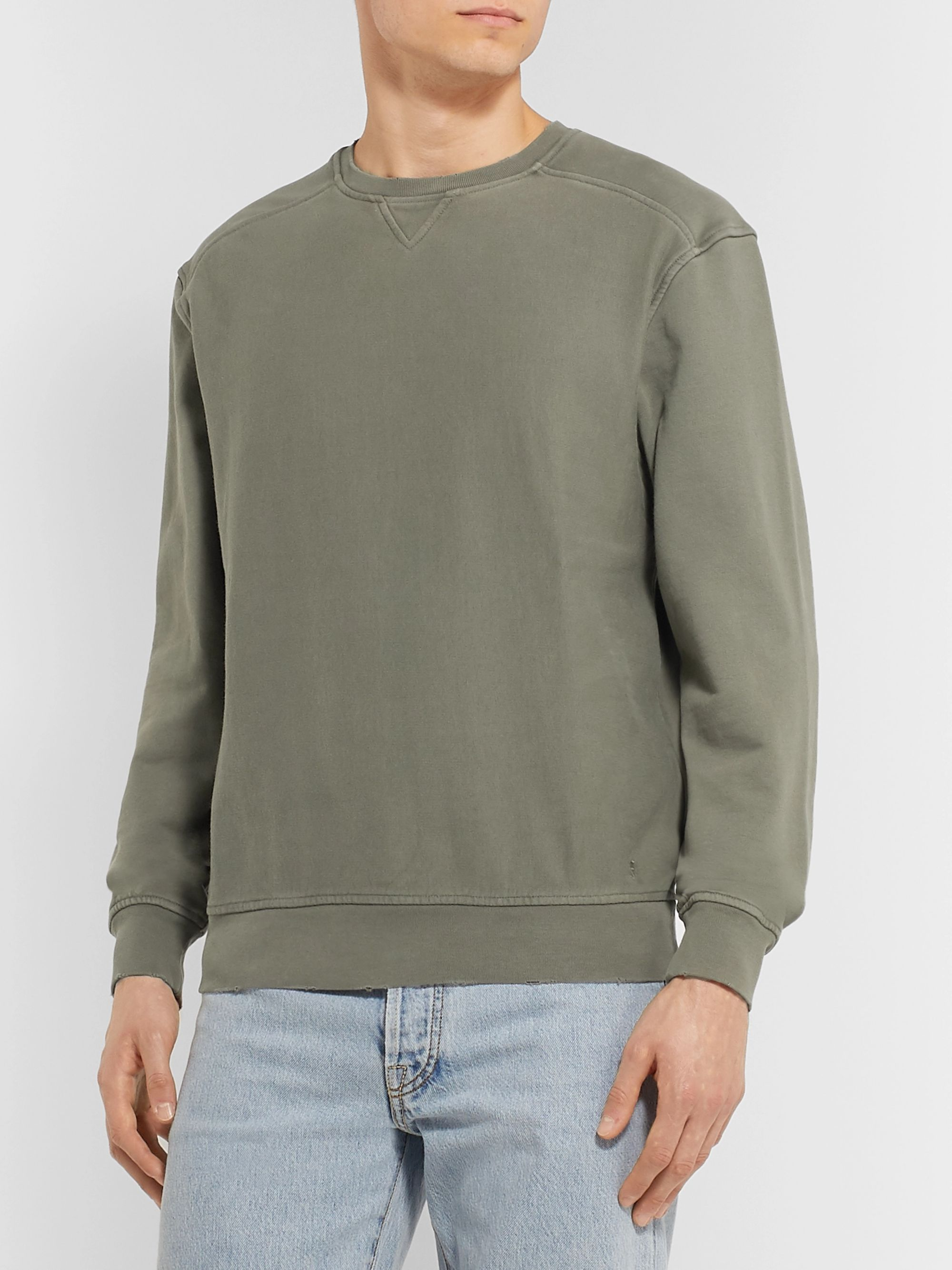 FRAME Distressed Loopback Cotton-Jersey Sweatshirt