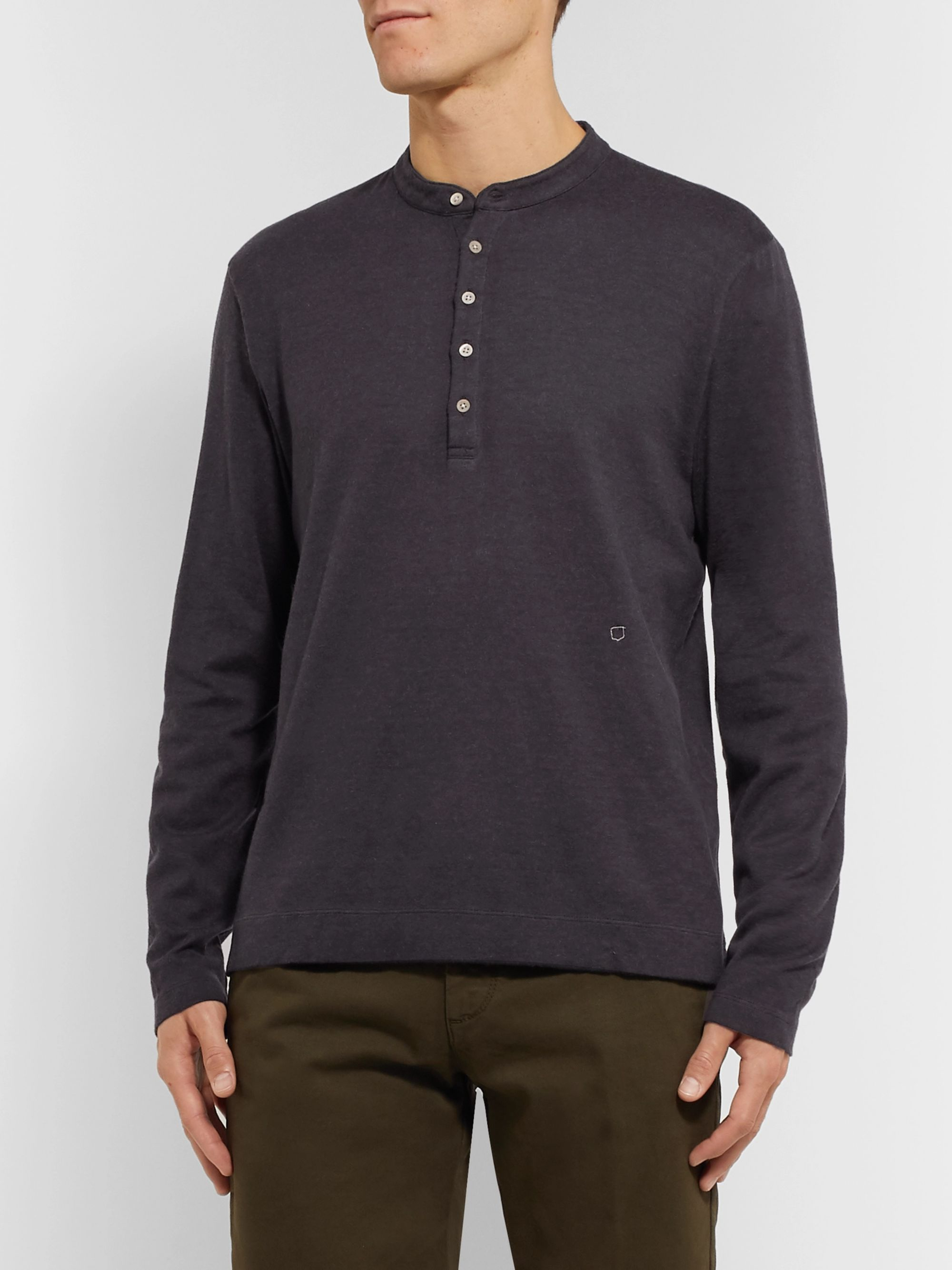 Massimo Alba Watercolour-Dyed Cotton and Cashmere-Blend Henley T-Shirt