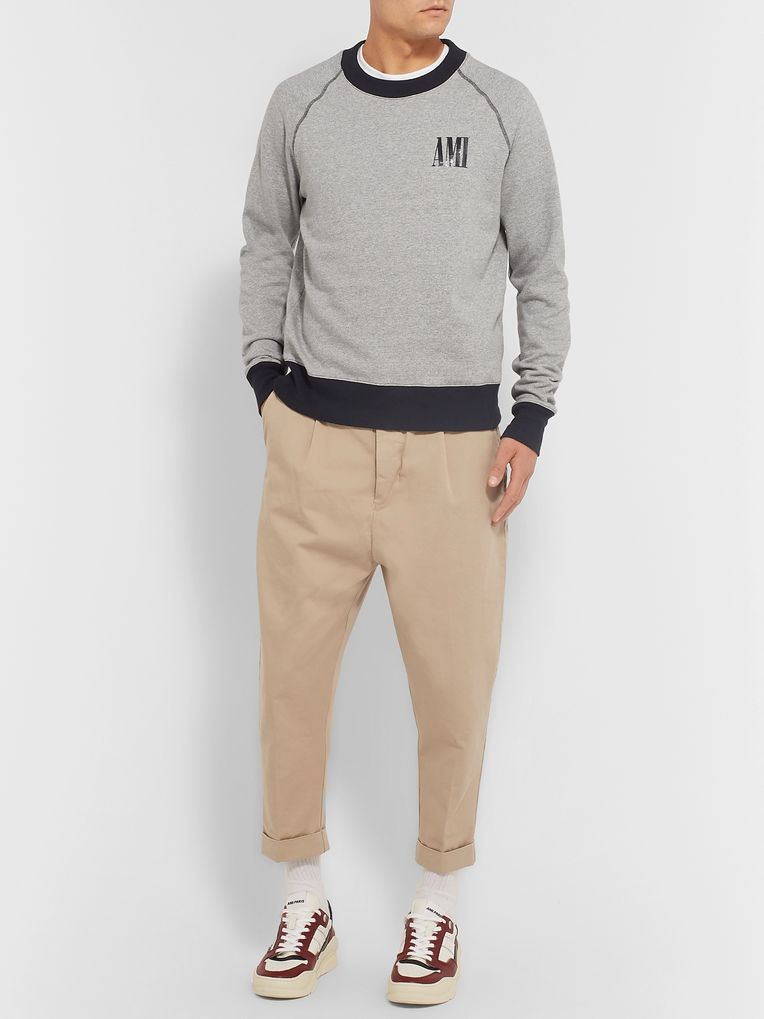 AMI Logo-Print Mélange Fleece-Back Cotton-Jersey Sweatshirt