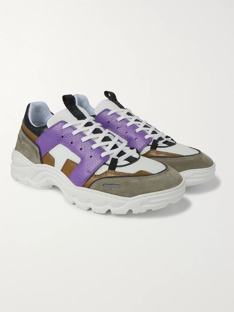 AMI Lucky 9 Mesh, Suede and Leather Sneakers
