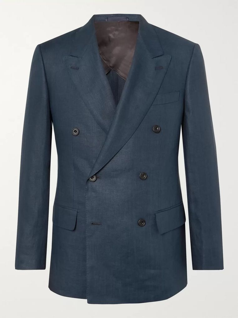 Kingsman Navy Slim-Fit Double-Breasted Linen Suit Jacket