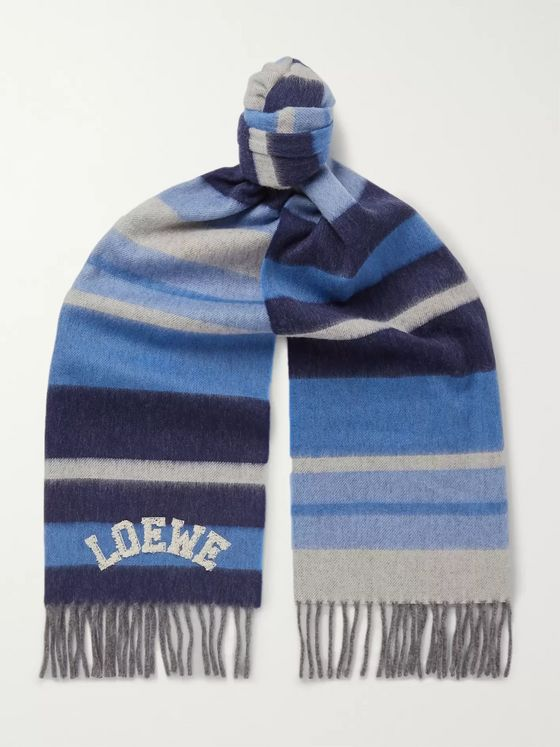 Loewe Logo-Appliquéd Striped Wool Scarf