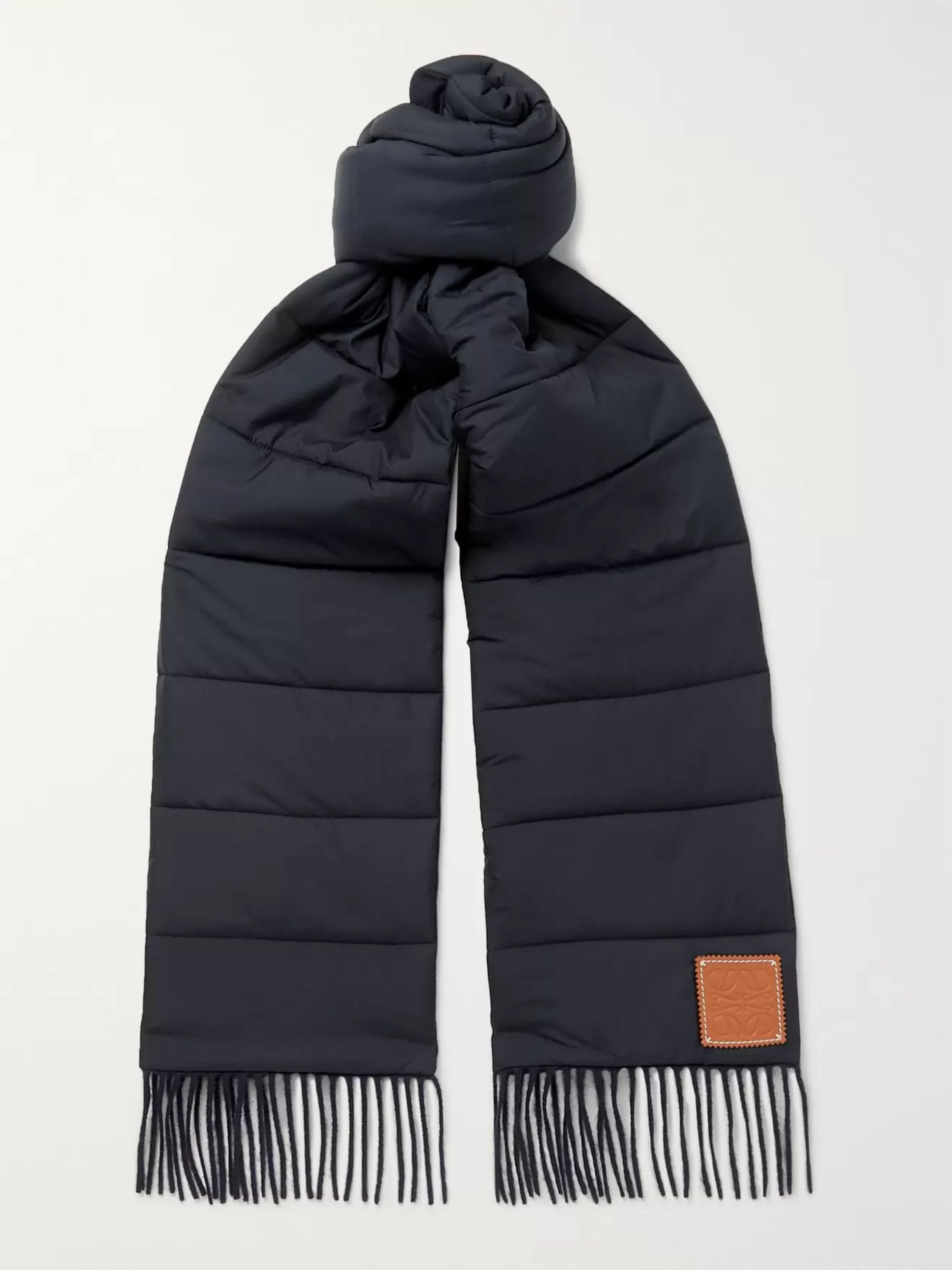 Loewe Fringed Logo-Appliquéd Quilted Cashmere and Shell Scarf