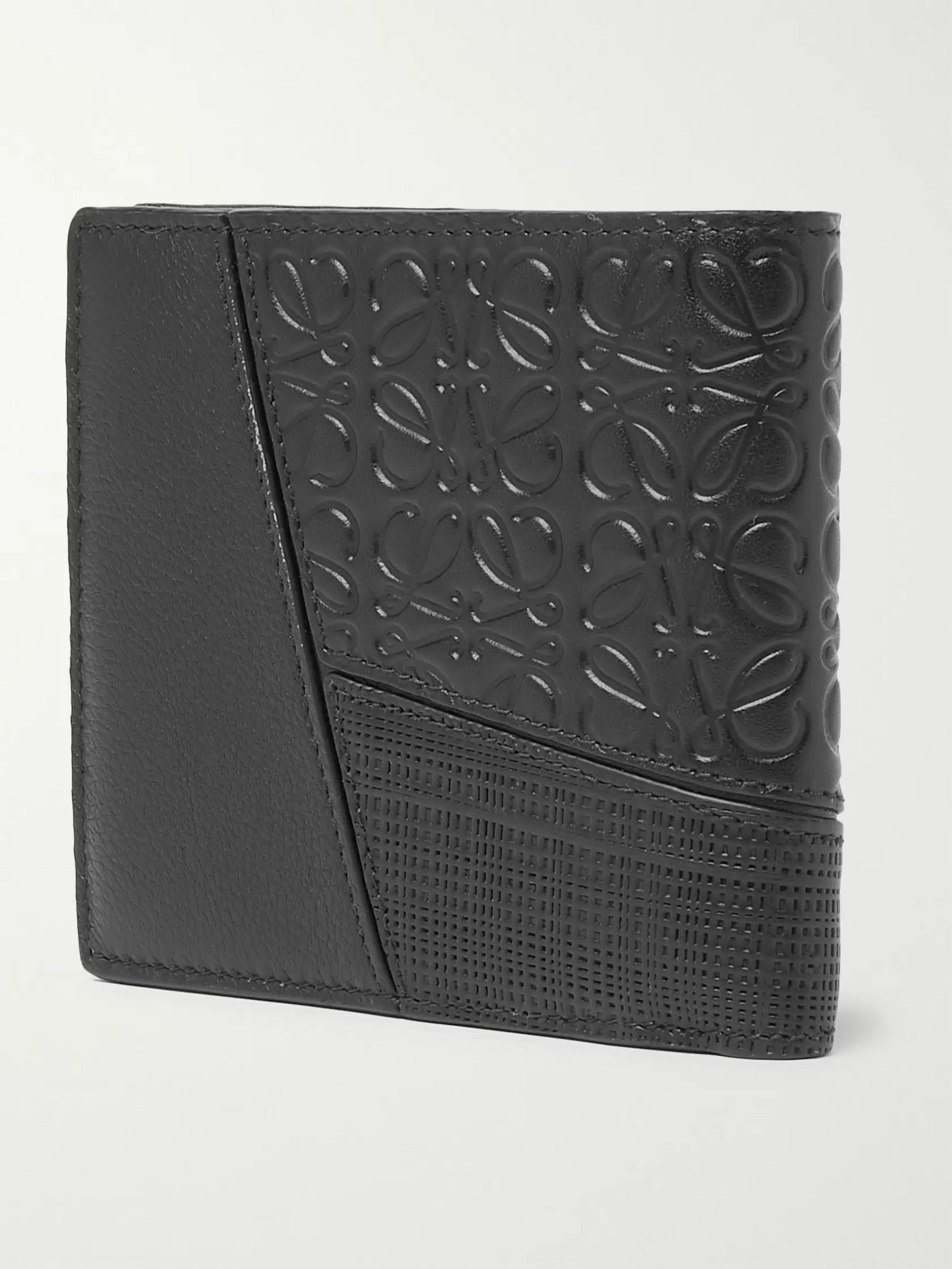 Loewe Logo-Debossed Full and Cross-Grain Leather Billfold Wallet