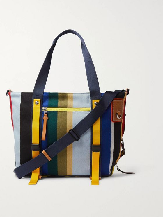 Loewe Eye/LOEWE/Nature Leather-Trimmed Striped Fleece Tote Bag
