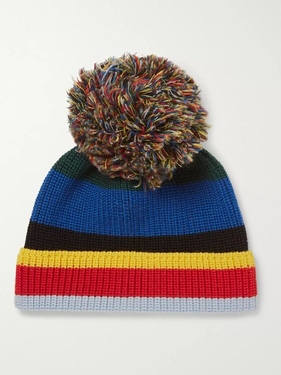 Loewe Eye/LOEWE/Nature Striped Ribbed Wool Beanie