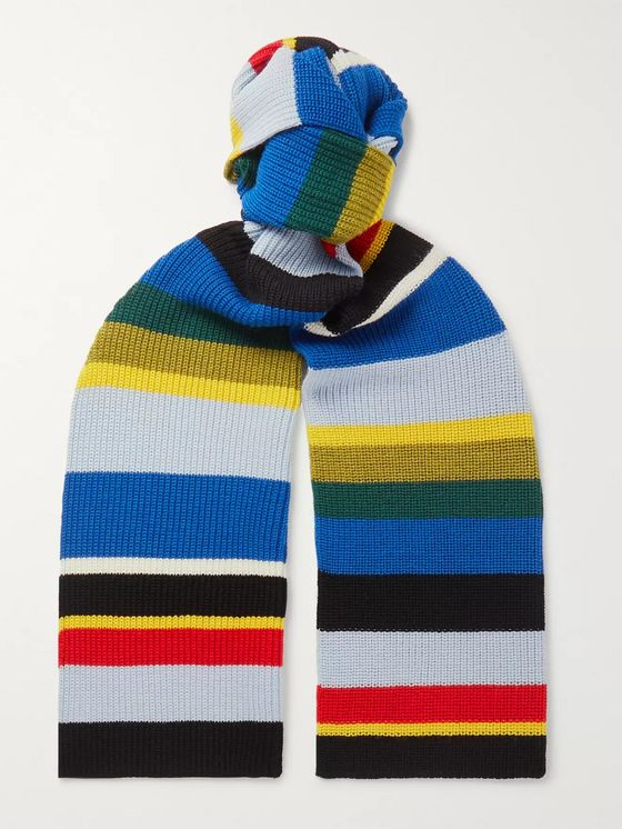 Loewe Eye/LOEWE/Nature Ribbed Striped Wool Scarf