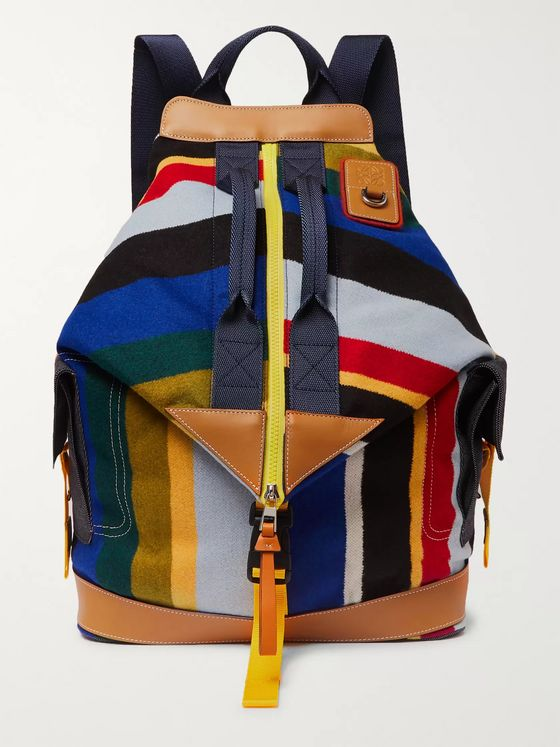 Loewe Eye/LOEWE/Nature Leather-Trimmed Striped Fleece and Canvas Backpack