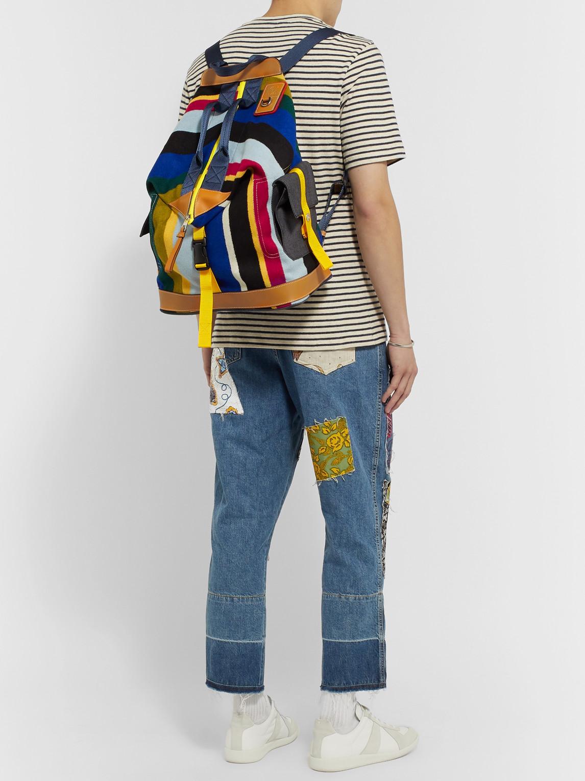 Loewe Backpacks EYE/LOEWE/NATURE LEATHER-TRIMMED STRIPED FLEECE AND CANVAS BACKPACK
