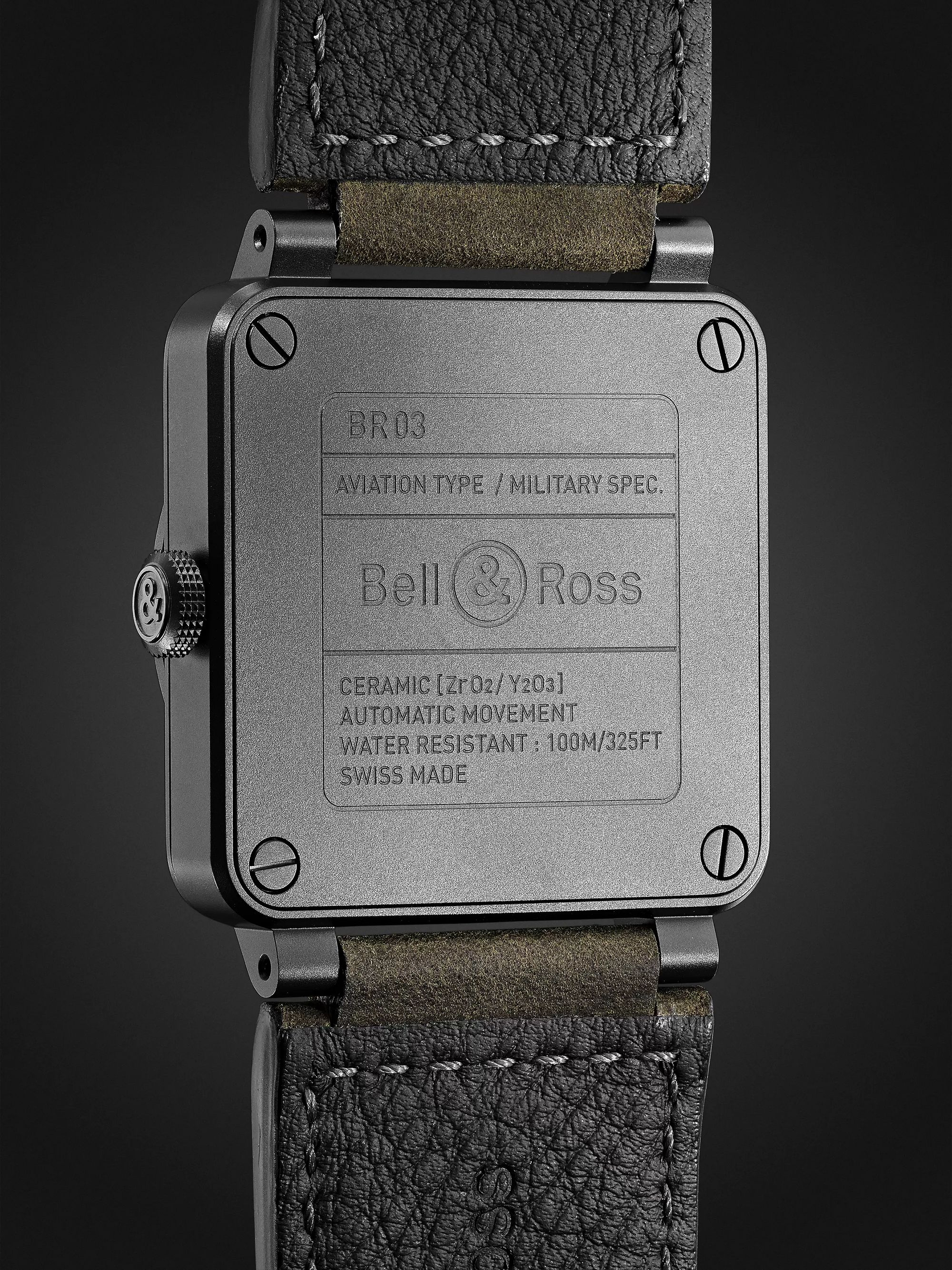 Bell & Ross BR03-92 Nightlum Automatic 42mm Ceramic and Leather Watch