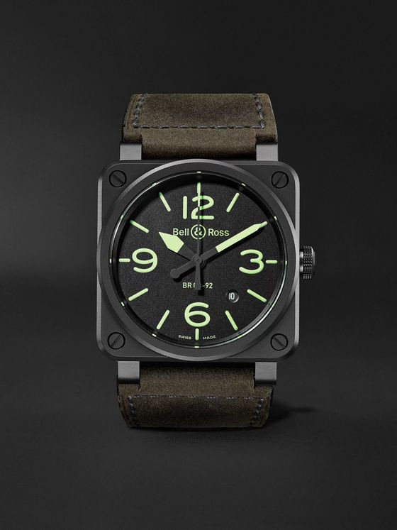 BELL & ROSS BR 03-92 Nightlum Automatic 42mm Ceramic and Leather Watch, Ref. No. BR0392-BL3-CE/SCA