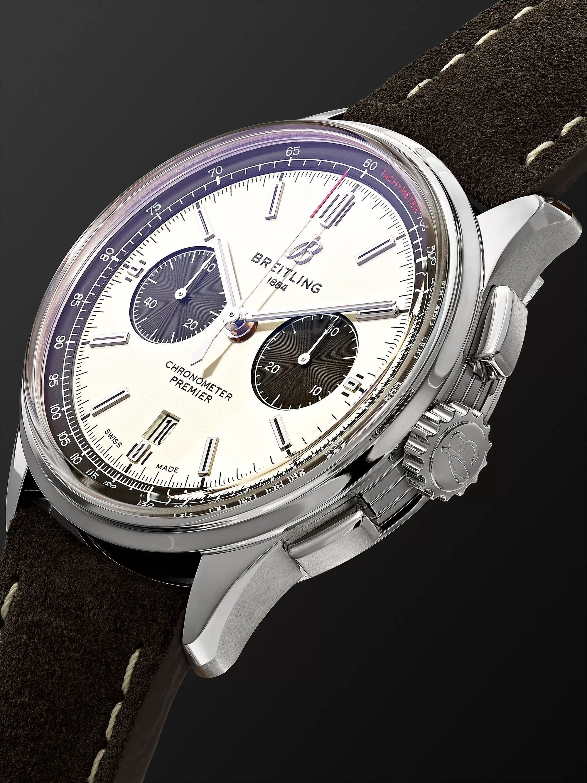 Breitling Premier B01 Chronograph 42mm Stainless Steel and Nubuck Watch, Ref. No. AB0118221G1X1
