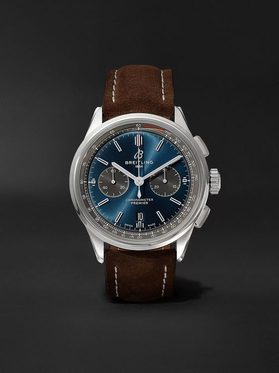 Breitling Premier B01 Automatic Chronograph 42mm Stainless Steel and Nubuck Watch, Ref. No. AB0118A61C1X1