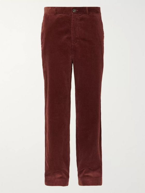 Mr P. Wide-Leg Black Cotton-Corduroy Trousers
