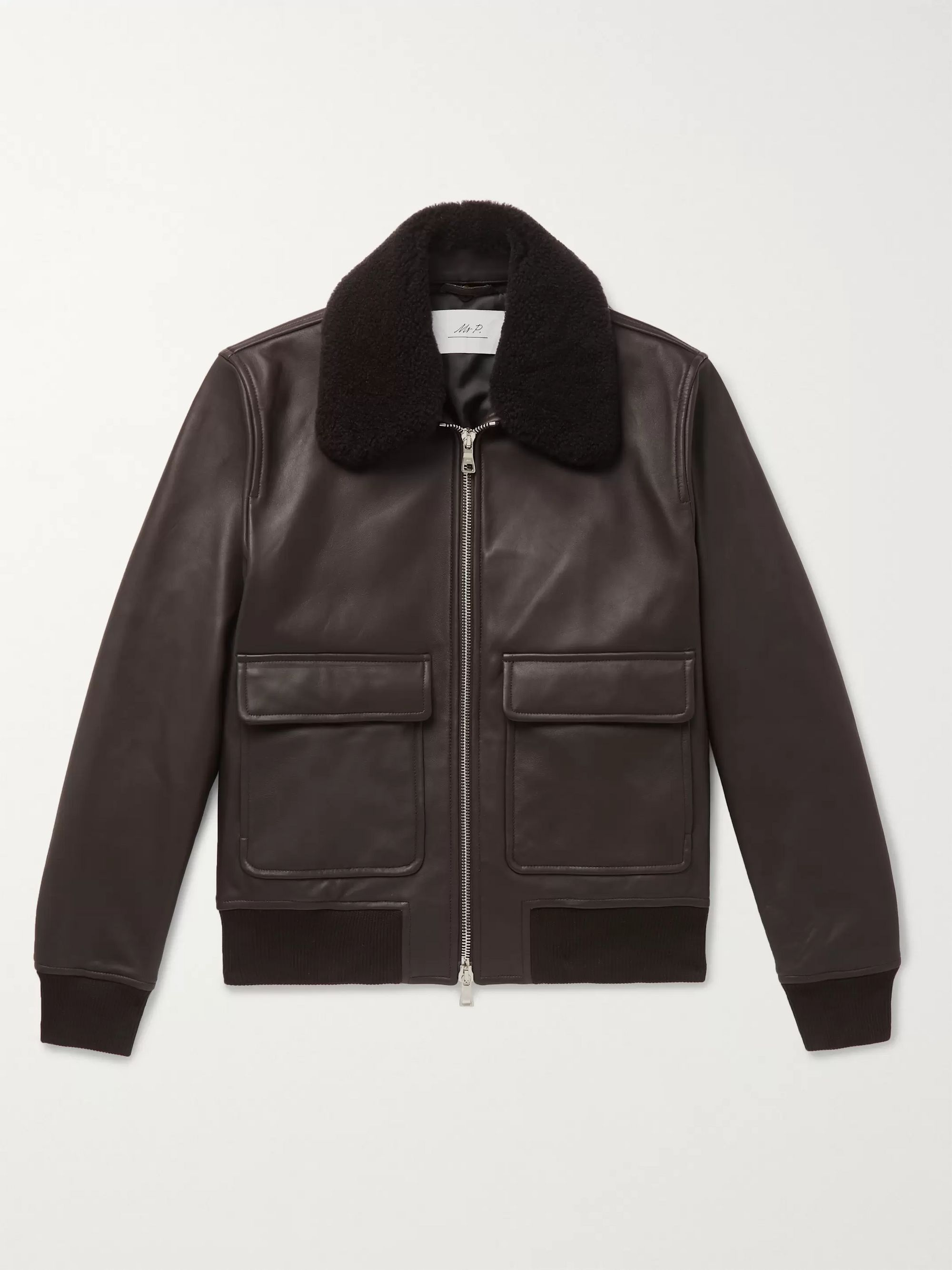 Mr P. Shearling-Trimmed Leather Bomber Jacket