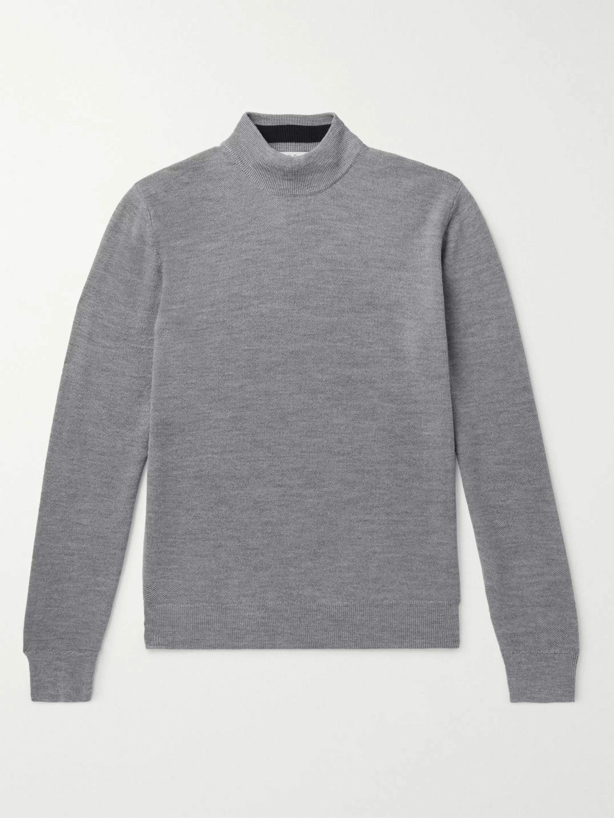 Mr P. Slim-Fit Merino Wool-Piqué Rollneck Sweater
