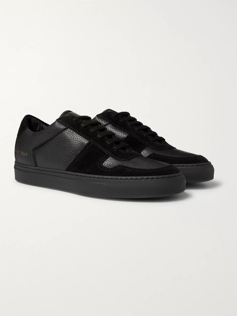 Common Projects BBall Full-Grain Leather and Suede Sneakers
