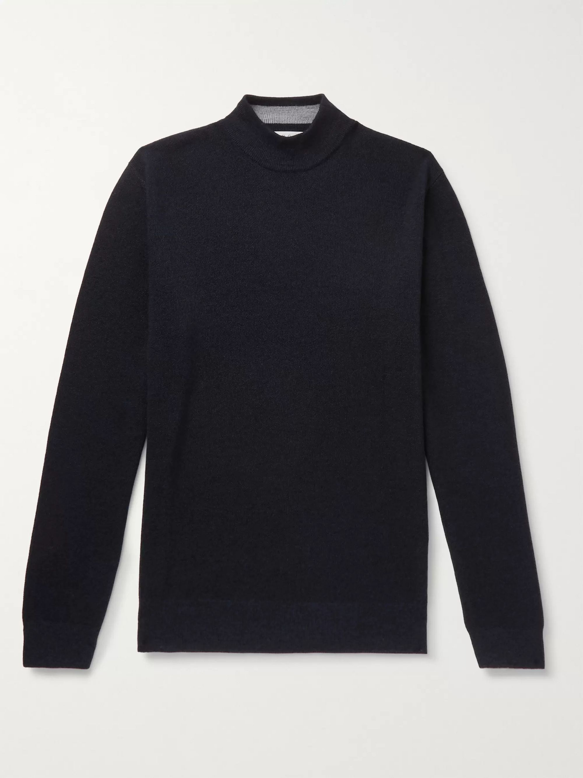 Mr P. Slim-Fit Mélange Merino Wool-Piqué Rollneck Sweater