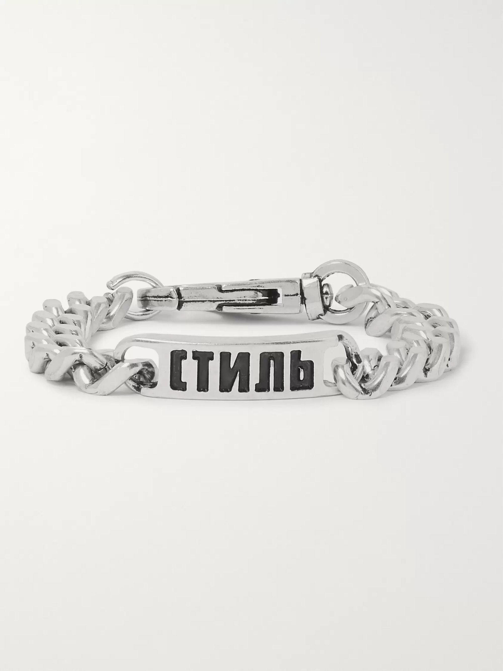 Heron Preston Logo-Detailed Silver-Tone Chain Bracelet