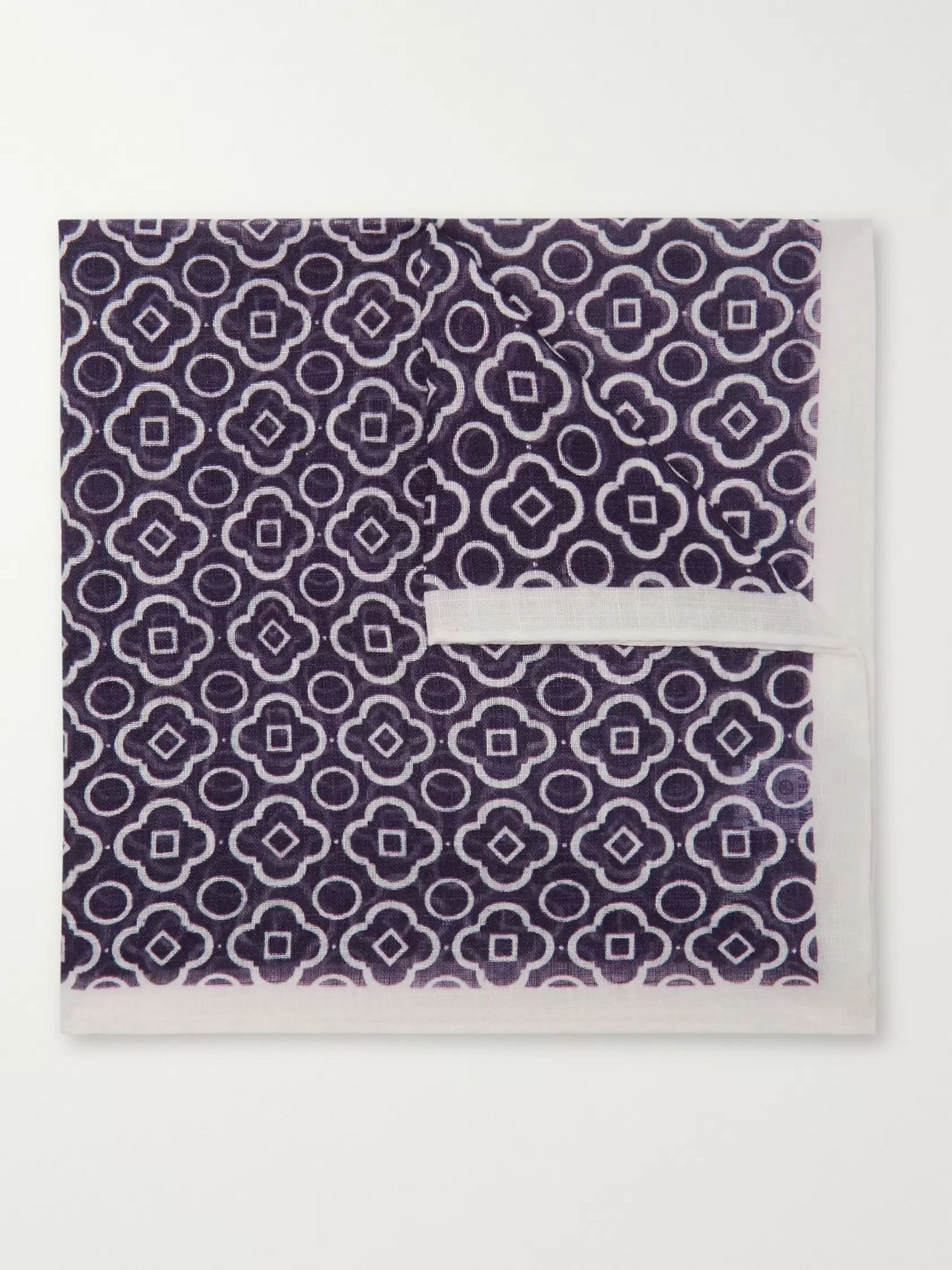 Anderson & Sheppard Printed Cotton Pocket Square