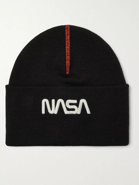 Heron Preston + NASA Embroidered Wool-Blend Beanie