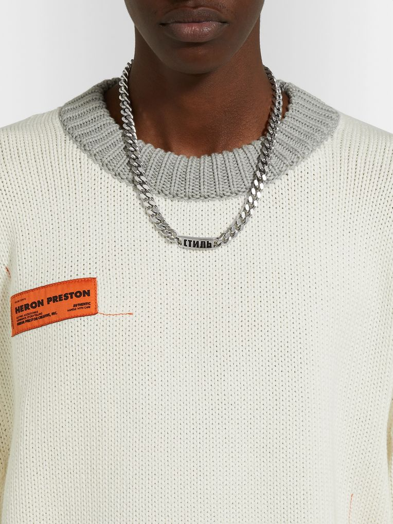 Heron Preston Logo-Detailed Silver-Tone Chain Necklace