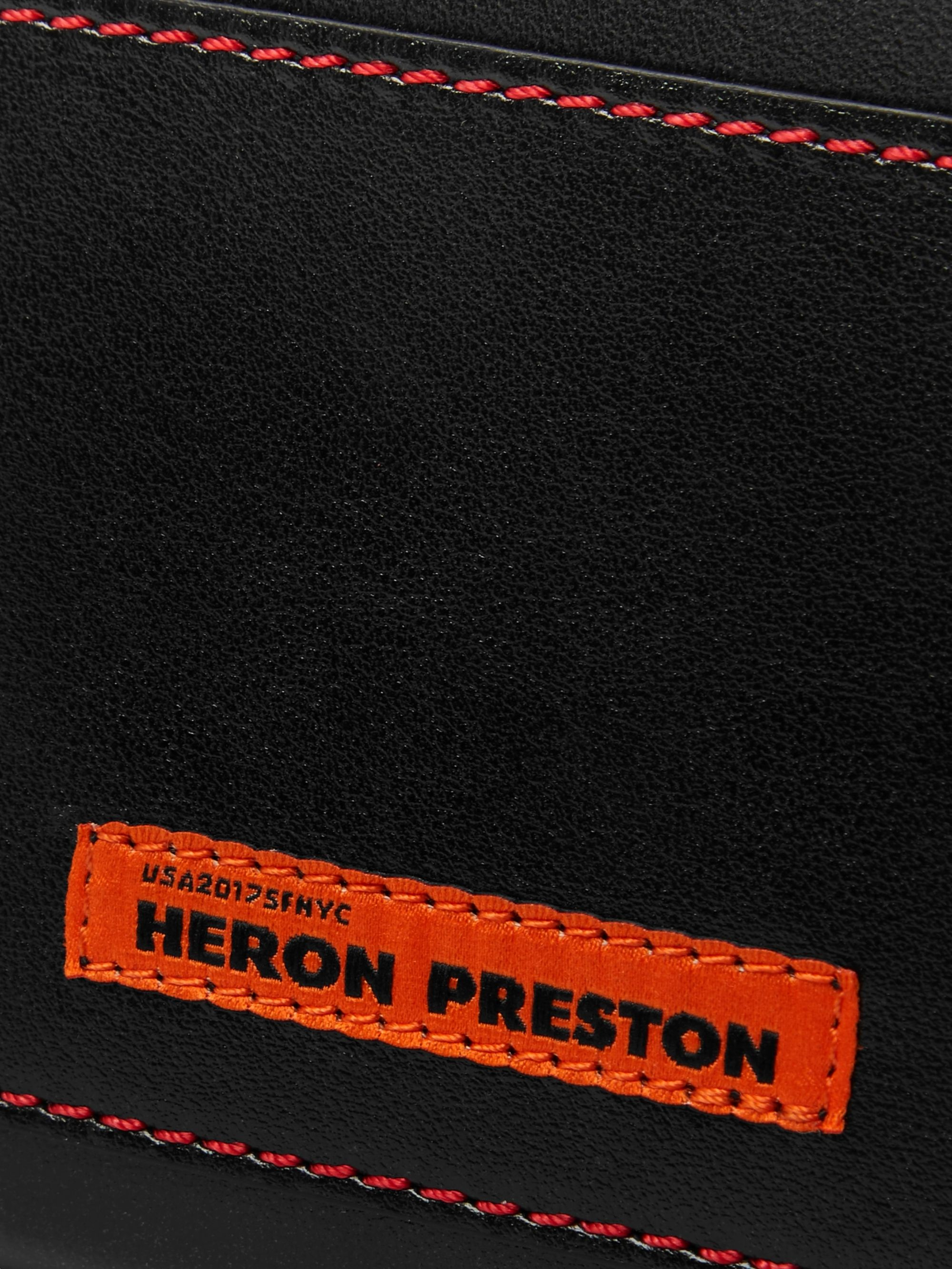 Heron Preston Chain-Embellished Logo-Print Leather Zip-Around Wallet