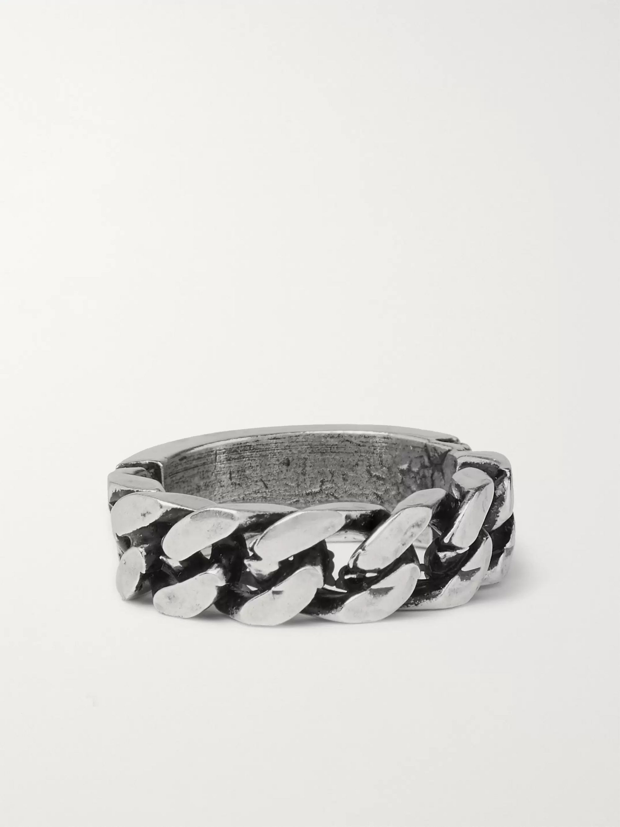 Heron Preston Engraved Burnished Silver-Tone Ring