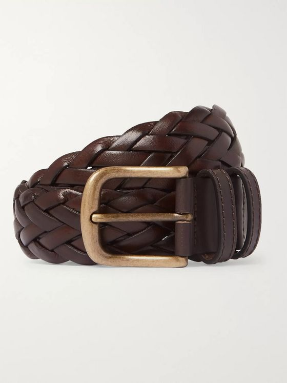Anderson & Sheppard 3.5cm Dark-Brown Woven Leather Belt