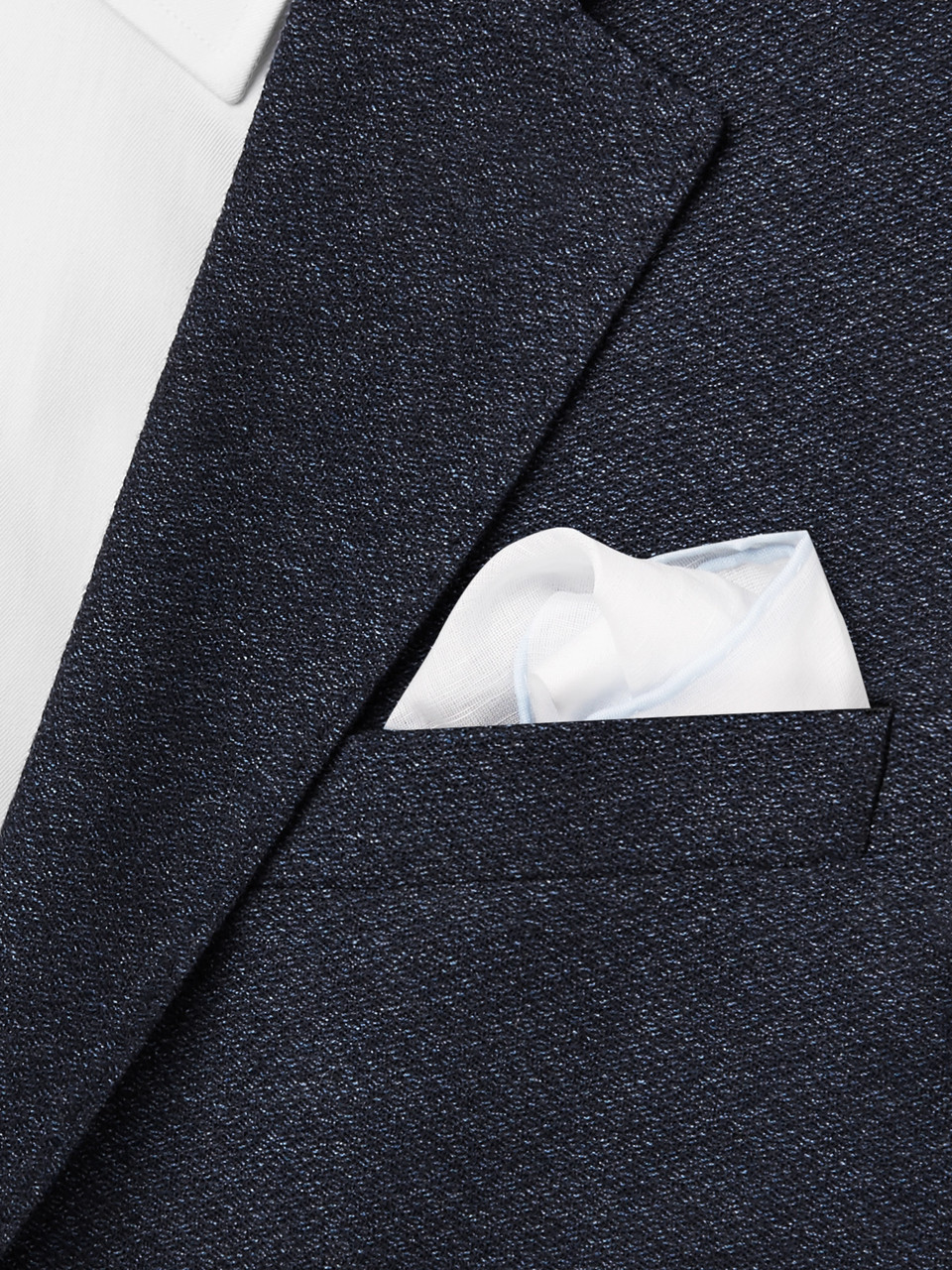 Anderson & Sheppard Contrast-Tipped Cotton and Linen-Blend Pocket Square