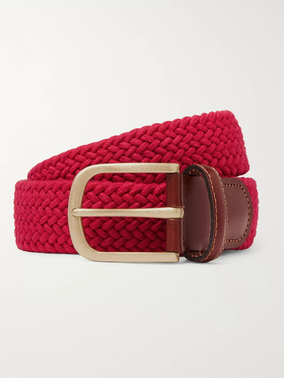 Anderson & Sheppard 3.5cm Red Leather-Trimmed Woven Stretch-Cotton Belt