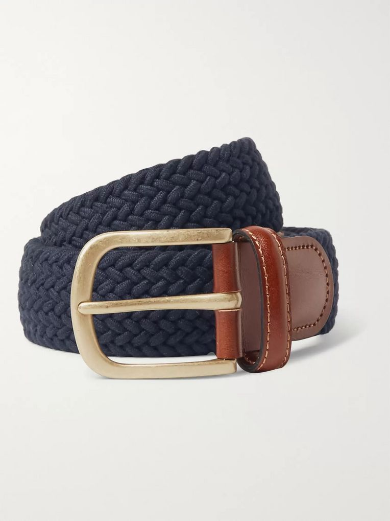 Anderson & Sheppard 3.5cm Midnight-Blue Leather-Trimmed Woven Stretch-Cotton Belt